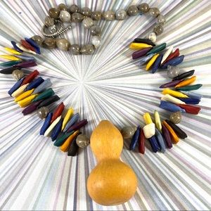 Cool vintage wooden bead gourd shaped necklace